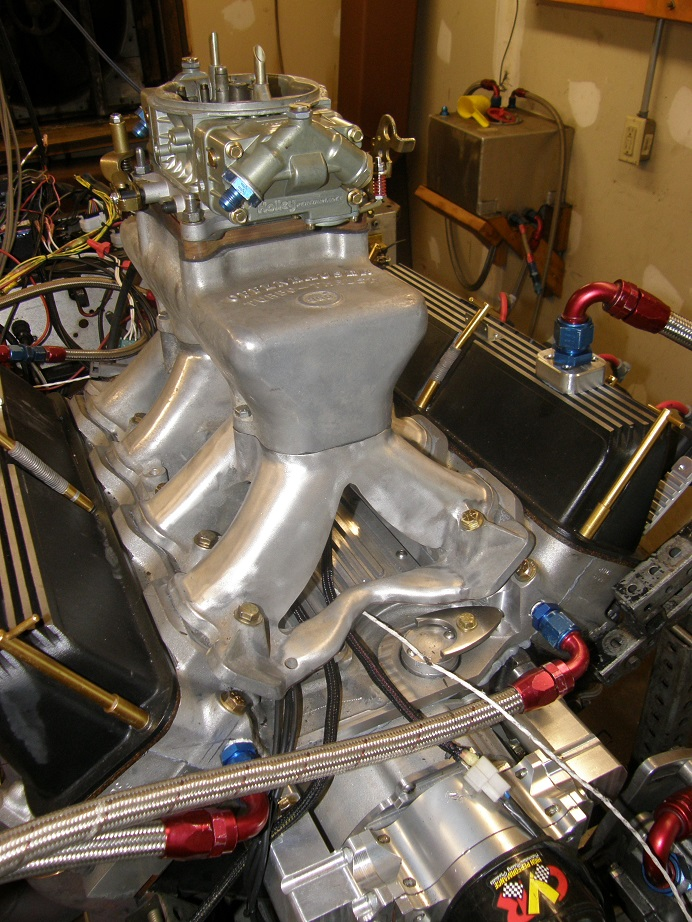 Dyno Mule to Test 351C Intakes on the Intake Adapter, Carb